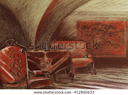 Interior of a Russian merchant house - a table, a couch and an arm-chair, a carpet on the wall and coffee pot and dishware on the table; arched ceiling; hand-drawn painting in warm red brown colors