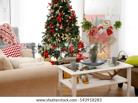 living room decorated. Interior of beautiful living room decorated for Christmas Beautiful Living Room Decorated Stock Photo