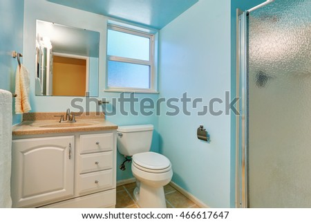 Interior of blue bathroom with white cabinet and granite counter top. Northwest, USA