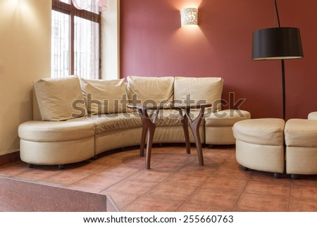 Interior of cafe in bright colors, modern, soft focus.glistenings on fabric