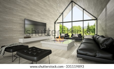 interior of modern design living room 3d rendering