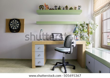Interior of modern study room for teenager