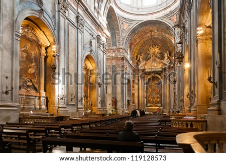 Interior of portuguese catholic church in Lisbon, Portugal