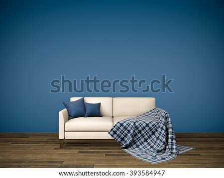 Interior picture with light beige fabric sofa, dark blue cushions and tartan plaid standing on brown wooden floor with empty deep blue gradient wall background. 3d rendering.