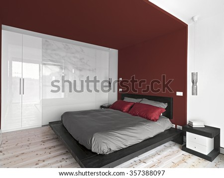 interior view of a  modern bedroom with wall cupboard and wood floor