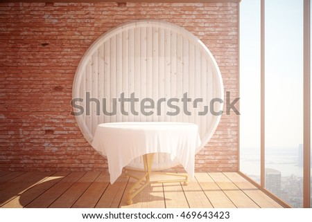 Interior with empty table, abstract circular wooden board on red brick wall background, parquet flooring and panoramic window with city view and sunlight. Mock up, 3D Rendering