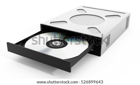 Internal disc drive isolated on white background. 3D illustration