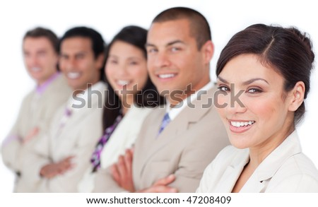International business team standing in a line against a white background