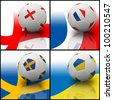 International flag on 3d football for Euro 2012 Group D - stock photo