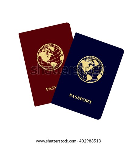 International red and blue passports with icon of globe.