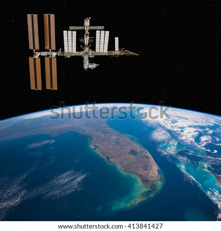 International Space Station over Florida. Elements of this image furnished by NASA.