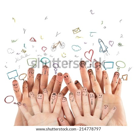 Internet and Social network concept with hands