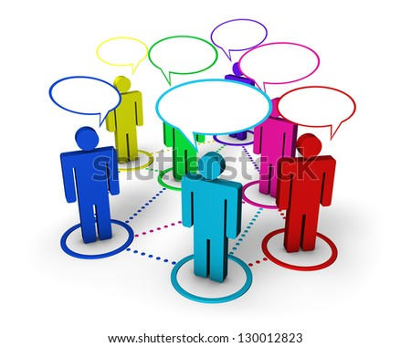 Internet community, social network, forum and online group concept with connection of 3d colorful people by dotted lines with speech clouds on white background.