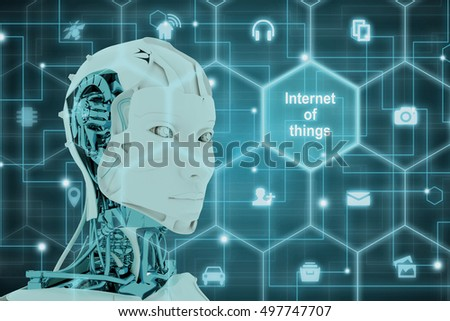 Internet of things concept with a female robot head looking at a grid with internet of things icons 3D illustration