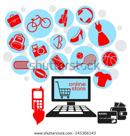 Internet Online Shopping. Red Goods Icons Flying from the Computer.