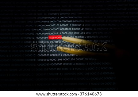Internet password security concept hacker taking the word password using chopsticks on binary code background.