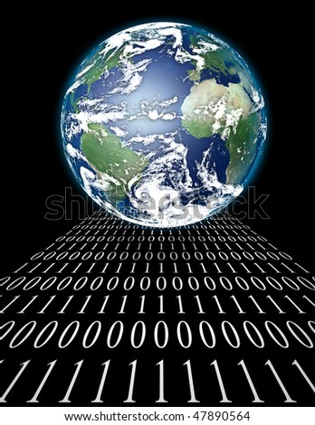 Internet World with binary code