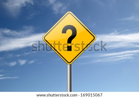 Interrogation road sign isolated on blue sky background.