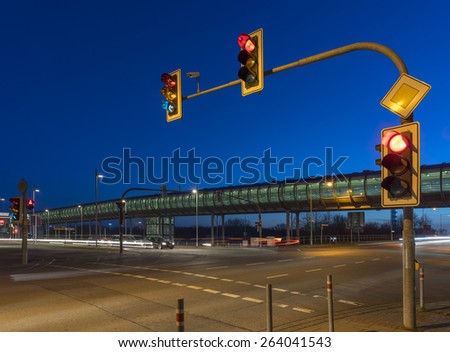 Intersection with the traffic light in Hannover