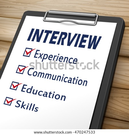 interview clipboard 3D image with check boxes marked for experience, communication, education and skills