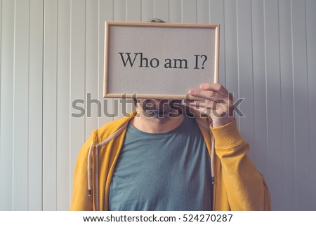 Introspective man  - Who am I, self-knowledge concept with question covering adult male face.