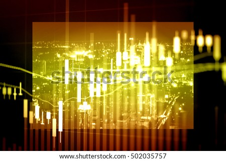 Investment growth concept with price of gold on gold market graph background: Candle stick graph chart of gold market investment trading to grow in the active high trend and low trend.
