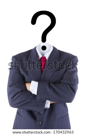 invisible businessman question mark head brain confusion isolated white concept
