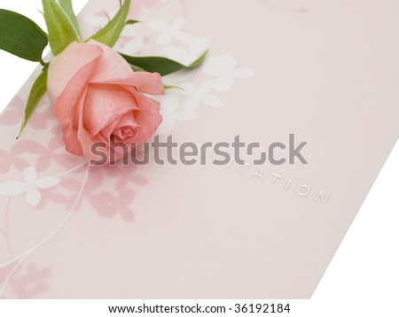 Invitation and one rose