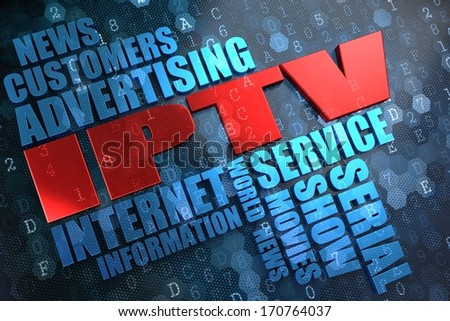 IPTV - Wordcloud Concept. The Word in Red Color, Surrounded by a Cloud of Blue Words.
