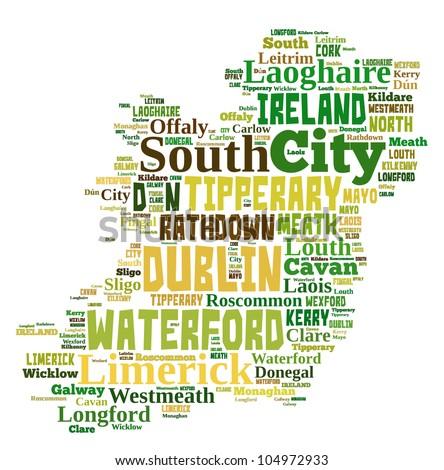Ireland Map Words Cloud Major Cities Stock Illustration - Ireland major cities map