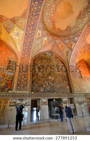 ISFAHAN - APRIL 19: Interior of the Chehel Sotoun palace in Isfahan, Iran on April 19, 2015. Chehel sotoun was built in 1646 by Shah Abbas II to be used for his entertainment and receptions.