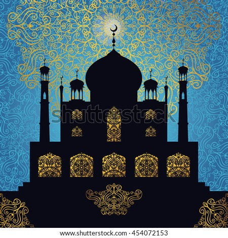 Islam,arabic,muslim background.Mosque with ornamental window,minaret .Blue Pattern backdrop.Vintage Celebration card for Ramadan Kareem, holiday template. Illustration.Mosque black silhouette.Night