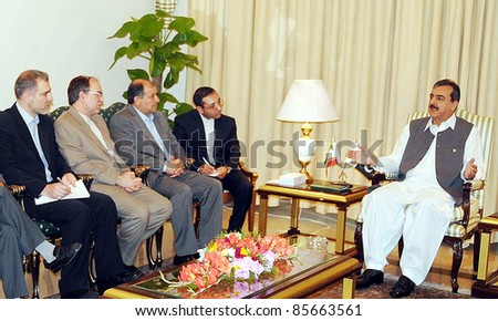 ISLAMABAD, PAKISTAN - SEPT 29: Prime Minister, Syed Yousuf Raza Gilani in meeting with Iran Interior Minister, Mostafa Najjar at PM House on September 29, 2011in Islamabad.
