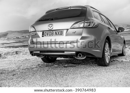 Isle of Skye, Scotland - 15 March 2015: Private car Mazda 6 Estate (GH 2007 - 2012)