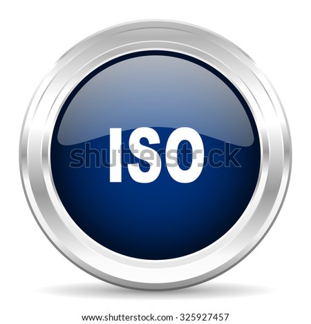 iso cirle glossy dark blue web icon on white background