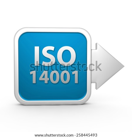 Iso 14001 square icon on white background