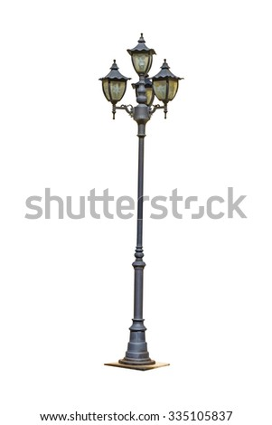 isolate street electric lamp post on white