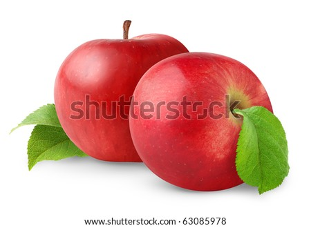 Isolated apples. Two red apple fruits isolated on white background