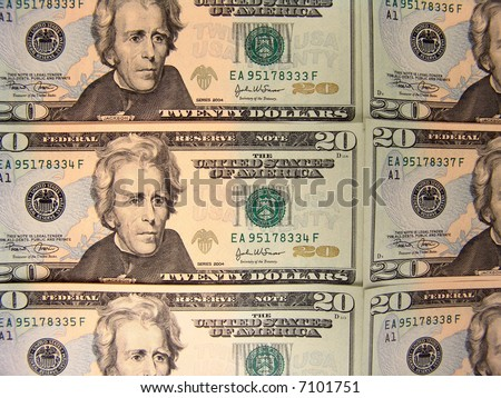 Isolated banknotes with serial numbers in ascending order