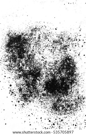 Isolated black powder on a white background