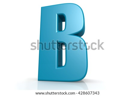 Isolated blue B alphabet with white background image, 3D rendering