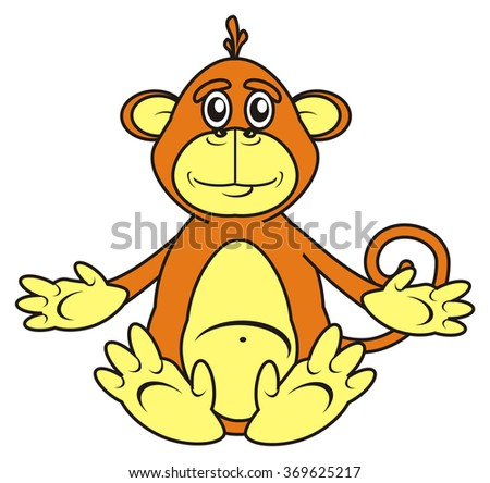 isolated brown monkey sitting on a white background