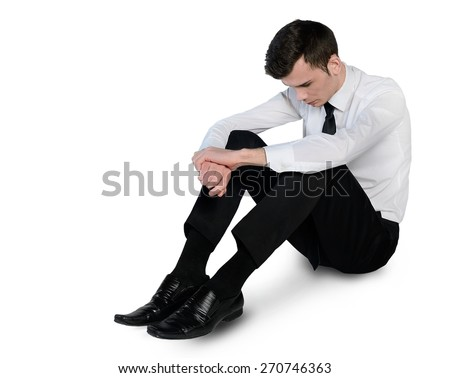Isolated business man sad lay down
