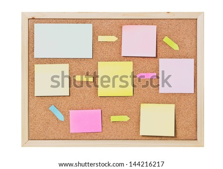 Isolated cork board with blank  paper notes
