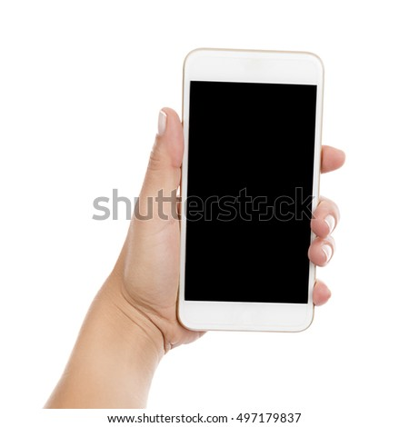 Isolated female hand holding a phone with black screen.