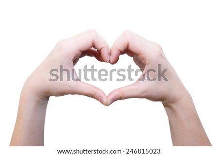 isolated female hand in heart shape