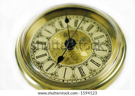 isolated gold clock
