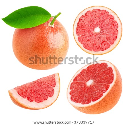 Isolated grapefruits. Collection of whole pink grapefruit and slices isolated on white background with clipping path