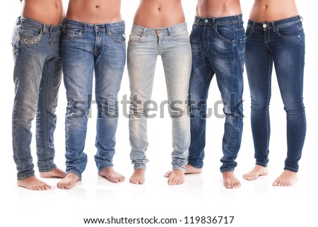 Isolated Group Young Men Women Jeans Stock Photo 119836723 ...