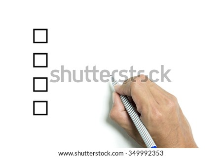 Isolated hand and pen and four choice to choose on white paper background